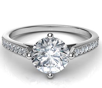Low Profile  engagement ring with side diamonds-Sandra