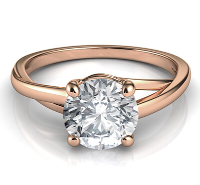 Solitaire engagement ring with a twist, Margaret, in Rose Gold
