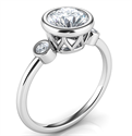 Picture of Bezel set Engagement ring with side diamonds, tailored to your chosen diamond