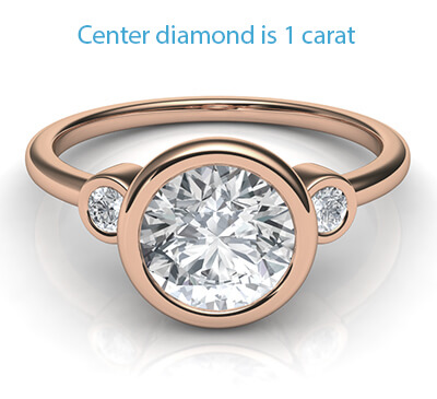 Rose Gold Bezel set Engagement ring with side diamonds, tailored to your chosen diamond