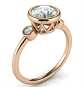 Picture of Rose Gold Bezel set Engagement ring with side diamonds, tailored to your chosen diamond
