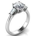 Picture of Engagement ring  with two tapered Baguette diamonds 0.24 carat