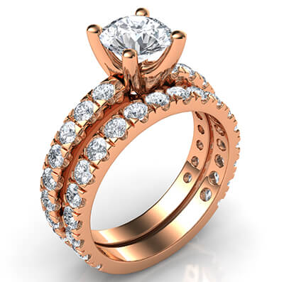 The set has 1.74 carats of small round diamonds, Average G VS2, Very-Good to Ideal-Cut for maximum brilliance.