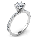 Picture of 6 prongs head ring model, with side diamonds common prongs set 0.20 carat