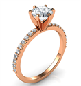 Picture of Rose Gold Common prongs, 6 prongs head ring model, with side diamonds  0.20 carat