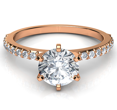 Rose Gold Common prongs, 6 prongs head ring model, with side diamonds  0.20 carat