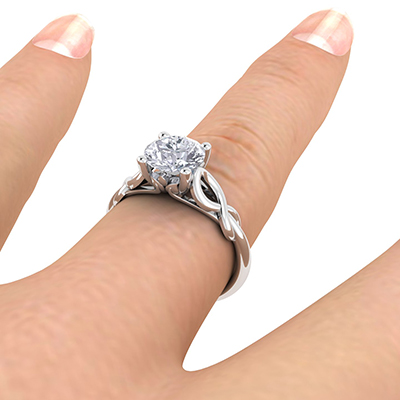 Rose Gold Leaf motif infinity Solitaire engagement ring, For smaller diamonds