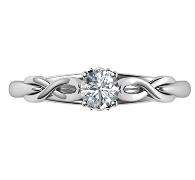 , 0.25 carat Leaf motif infinity Solitaire engagement ring