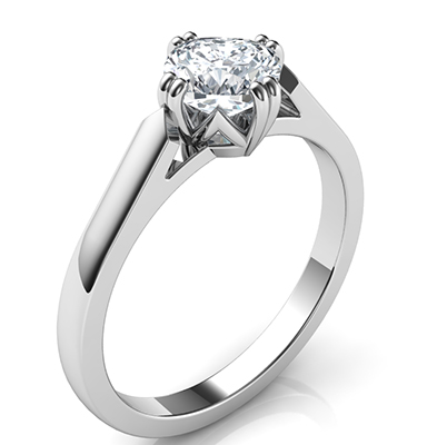 2 mm low profile solitaire engagement ring