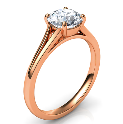 Rose Gold Split band Solitaire engagement ring for all diamond shapes