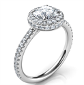 Picture of Karen Low Profile engagement ring for for all shapes, halo set on two sides