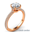 Picture of Rose gold engagement ring for Rounds & Princess, encrusted from 3 sides and a secret halo, Elizabeth