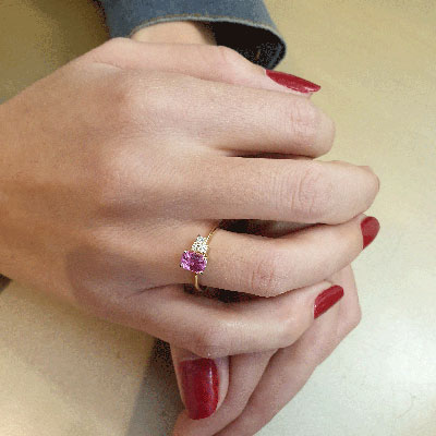 Pink Natural Sapphire and diamonds ring