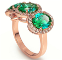 Picture of Three Emerald Ovals ring with side diamonds