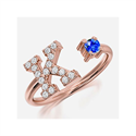 Picture of Initials open ring in 14k White,Yellow or Rose Gold