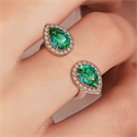 Picture of Two Emerald Pears with diamonds, in 14k White,Yellow or Rose Gold