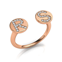 Picture of Your Initials with diamonds, open ring