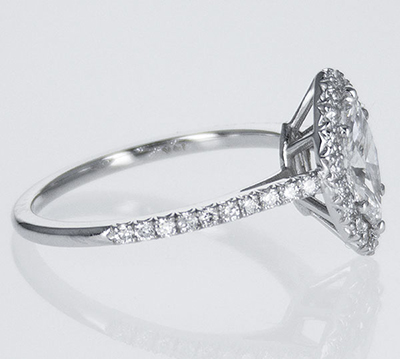 Ready to ship, 0.56 carat Marquise diamond D VS2 +0.35 sides , engagement ring,  in 14k White Gold