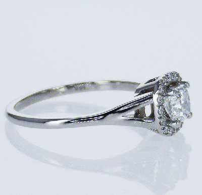 Ready to ship, 0.48 carat Cushion diamond D VS1+0.13 sides, engagement ring,  in 14k White Gold