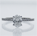 Picture of Ready to Ship.1.01 D VS2 Oval solitaire engagement ring, In 14k White gold.