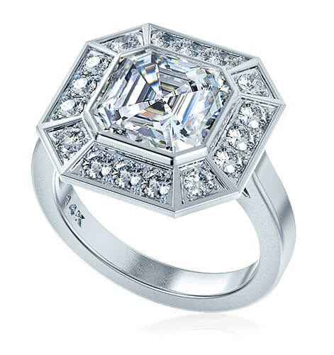 Pippa Middleton engagement ring with diamonds and center Moissanite