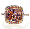 Picture of Ready to ship, 4 carat pink Morganite and 0.55 carat side diamonds engagement ring,  in 14k Rose Gold