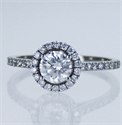 Picture of Ready to ship, 0.61 carat Round diamond D SI1 C.E, +0.30 sides, engagement ring, in 14k White Gold