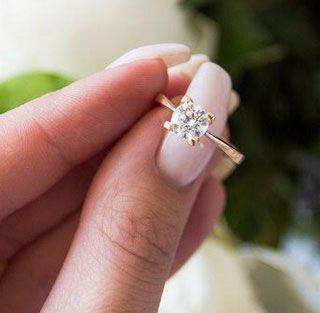 Ready to ship, 0.70 carat Round diamond D SI1 Solitaire engagement ring, in 14k White Gold