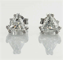 Picture of Pair of natural Triangle diamond earrings 0.66+0.67 carat E VS2 F SI1