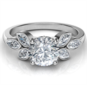 Picture of Low Profile engagement ring with 0.60 carat Marquise side diamonds-Santana