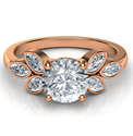 Picture of Rose Gold engagement ring with 0.60 carat side Marquise diamonds