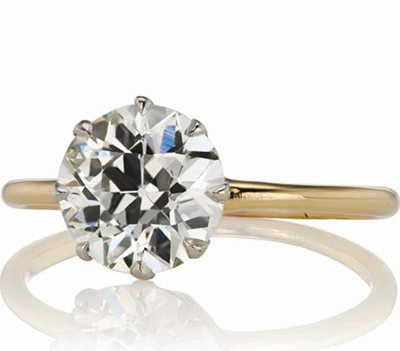 Vintage replica low profile solitaire engagement ring