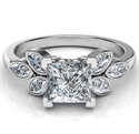 Picture of Low Profile Princess center engagement ring with 0.60 carat Marquise side diamonds
