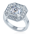 Picture of Pippa Middleton 1.50 carat Asscher Cut Moissanite center low profile engagement ring