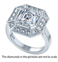 Picture of Pippa Middleton 2.00 carat Asscher Cut Moissanite center engagement ring