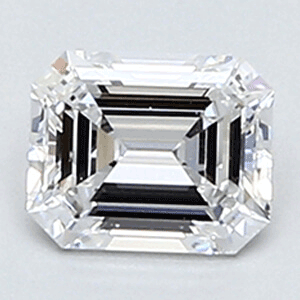 Picture of 0.36 Carats, Emerald Diamond with Ideal Cut, D Color, VVS2 Clarity and Certified By CGL