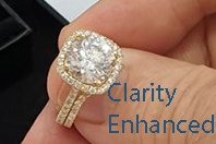 Clarity Enhanced 3 carat center in a halo bridal set