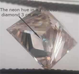 Clarity enhanced diamond blue hue, bottom Princess view