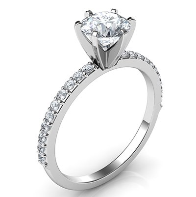 engagement ring with accent diamonds